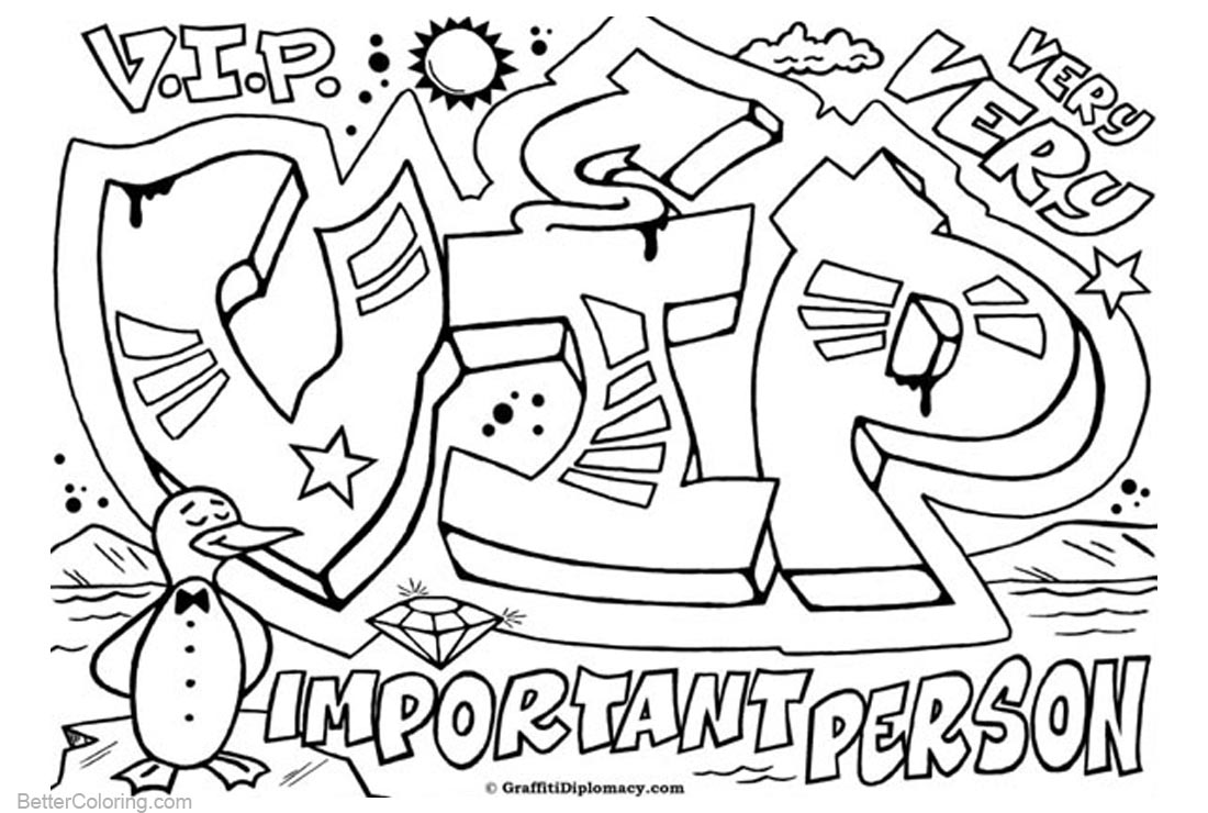 Graffiti Letters Coloring Pages VIP printable for free