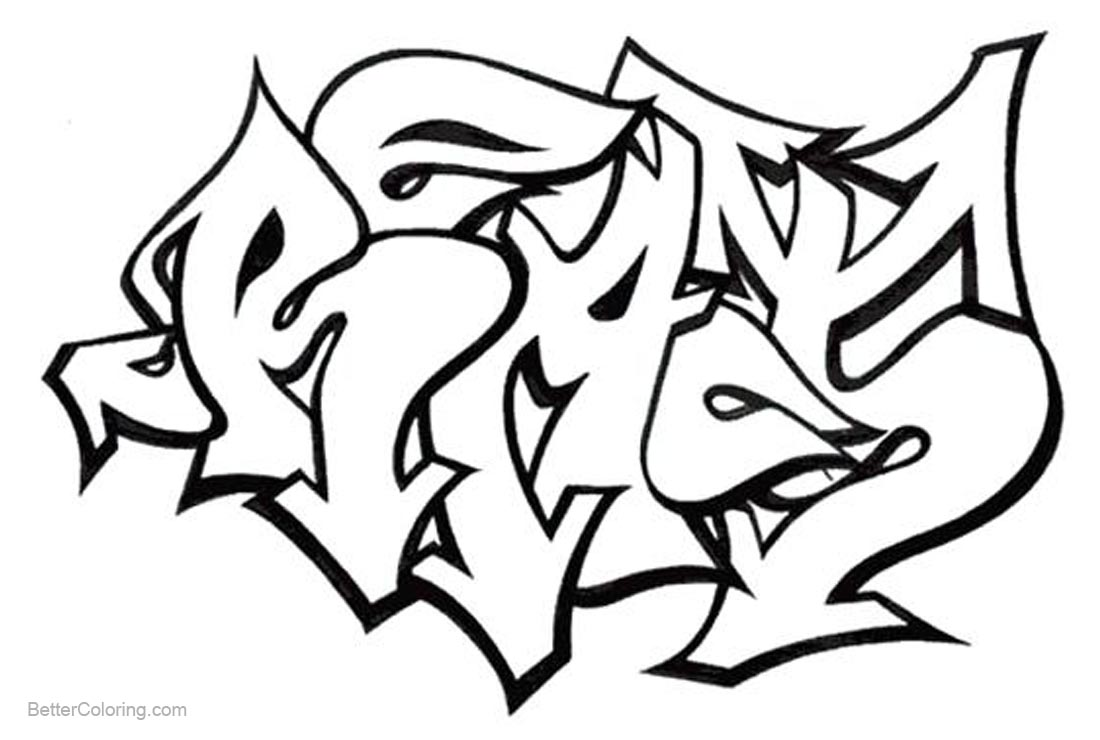Graffiti Letters Coloring Pages printable for free