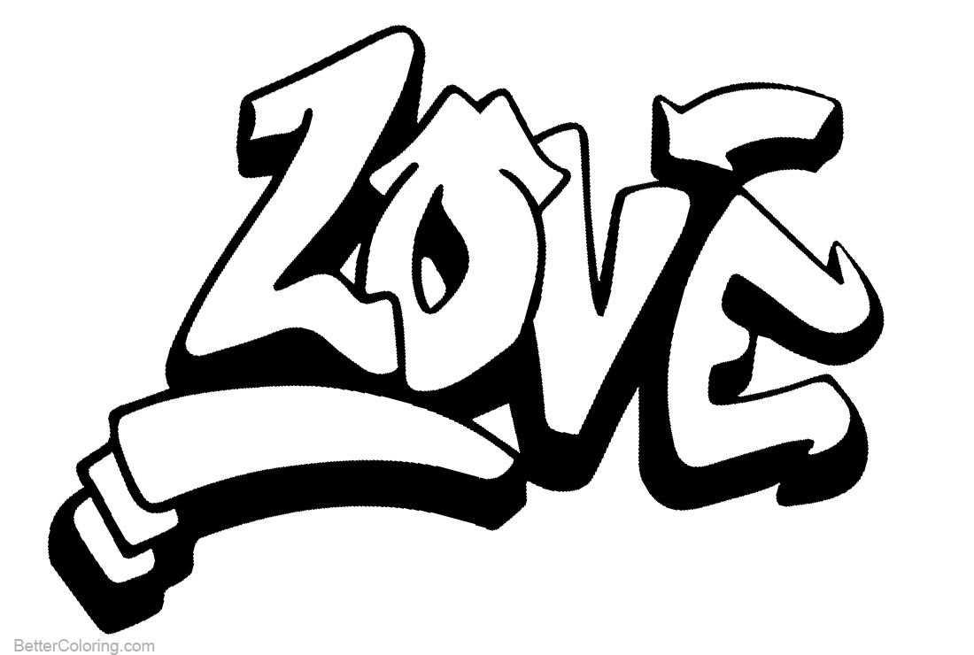 graffiti letters love coloring pages free printable