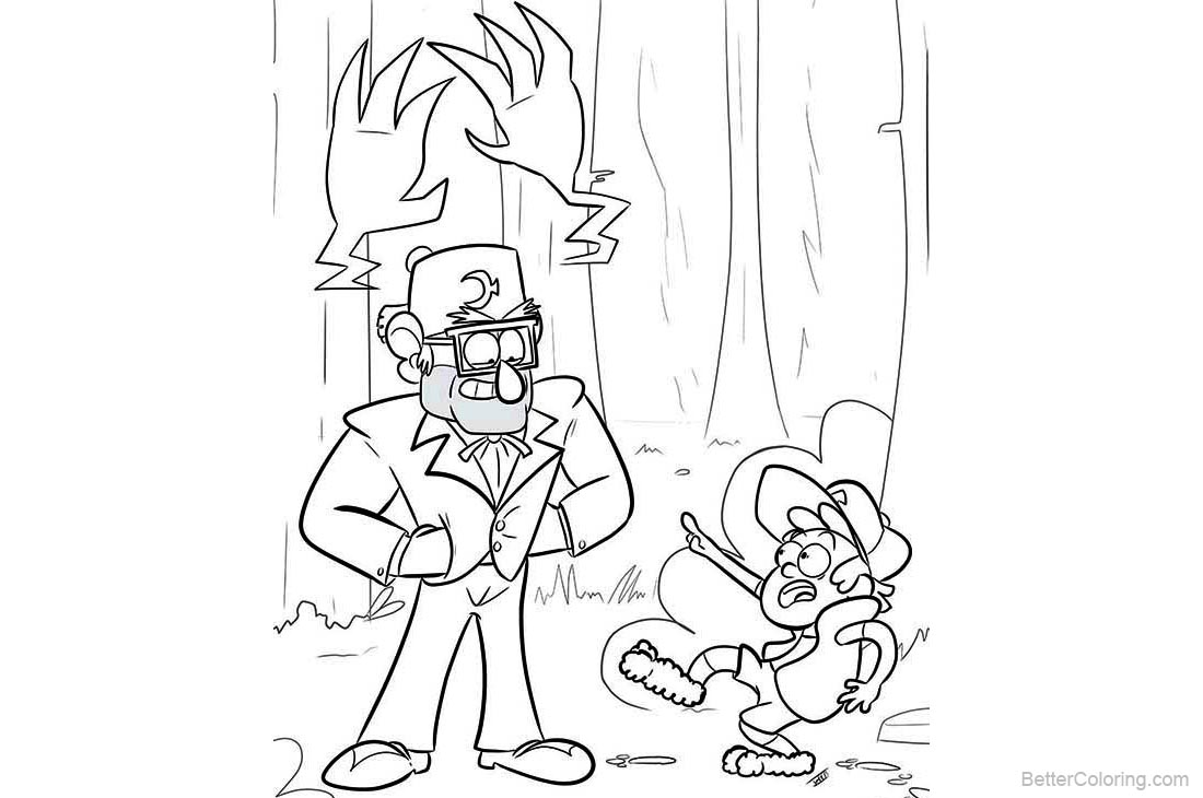 Gravity Falls Coloring Pages Dipper And His Uncle Free Printable