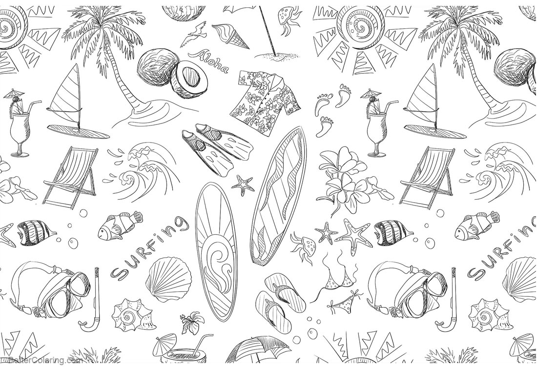 Great Surfboard Coloring Pages Pattern printable for free