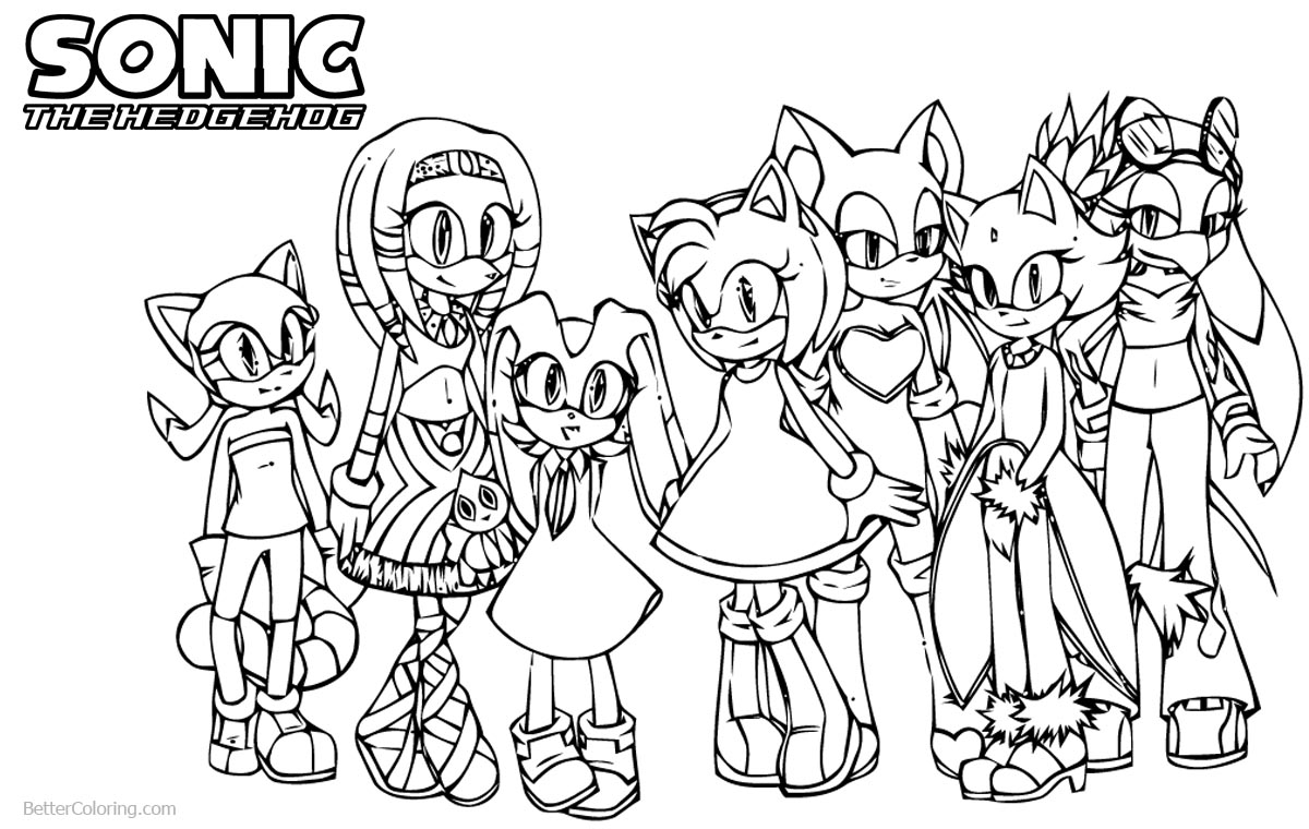 Grils from Sonic The Hedgehog Coloring Pages printable for free