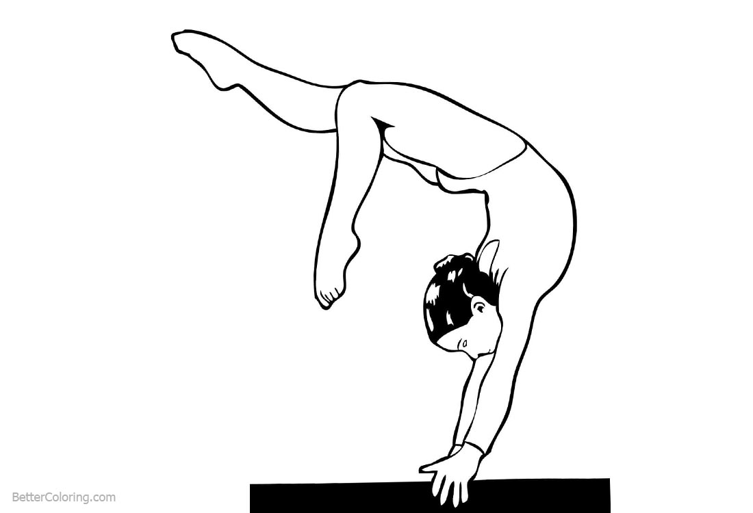 Gymnastics Balance Beam Coloring Pages printable for free