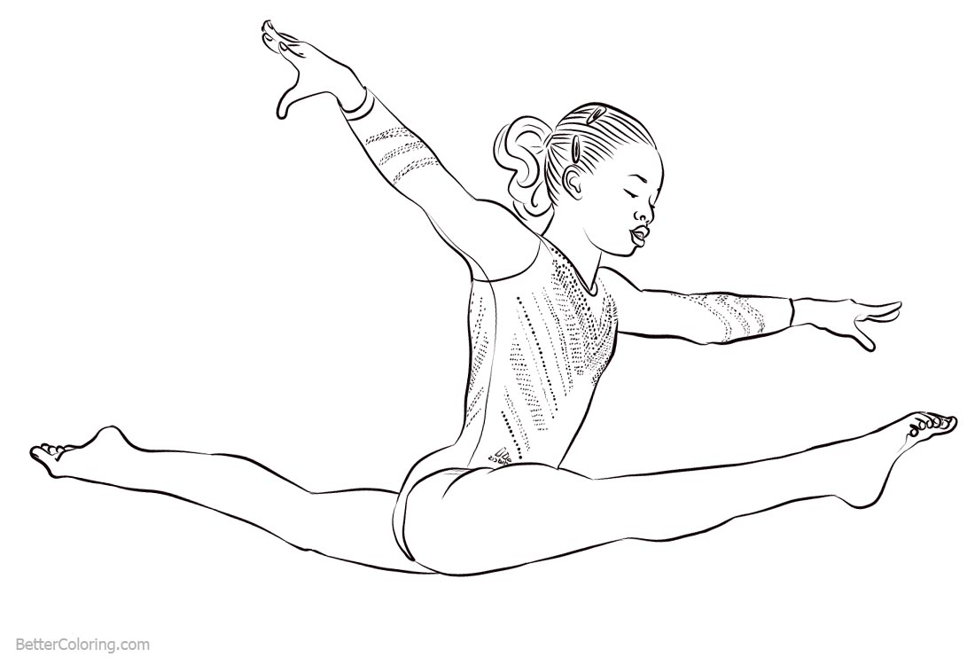 Gymnastics Coloring Pages Athlete Gabby Douglas Free