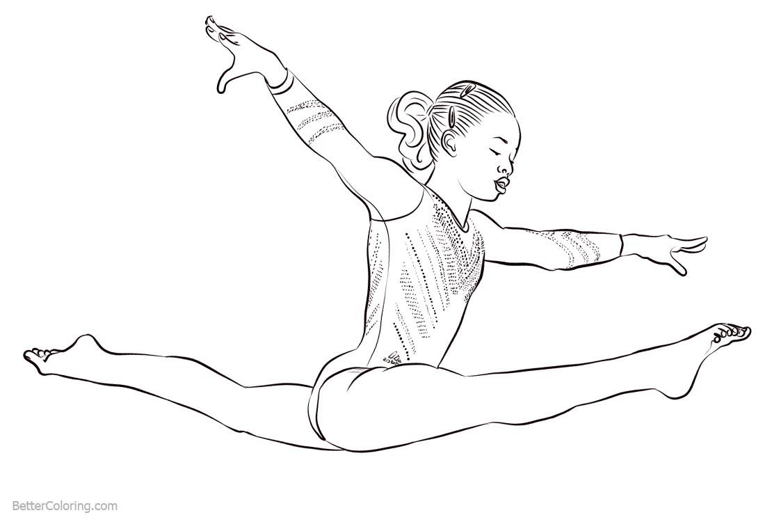 Gymnastics Coloring Pages Athlete Gabby Douglas