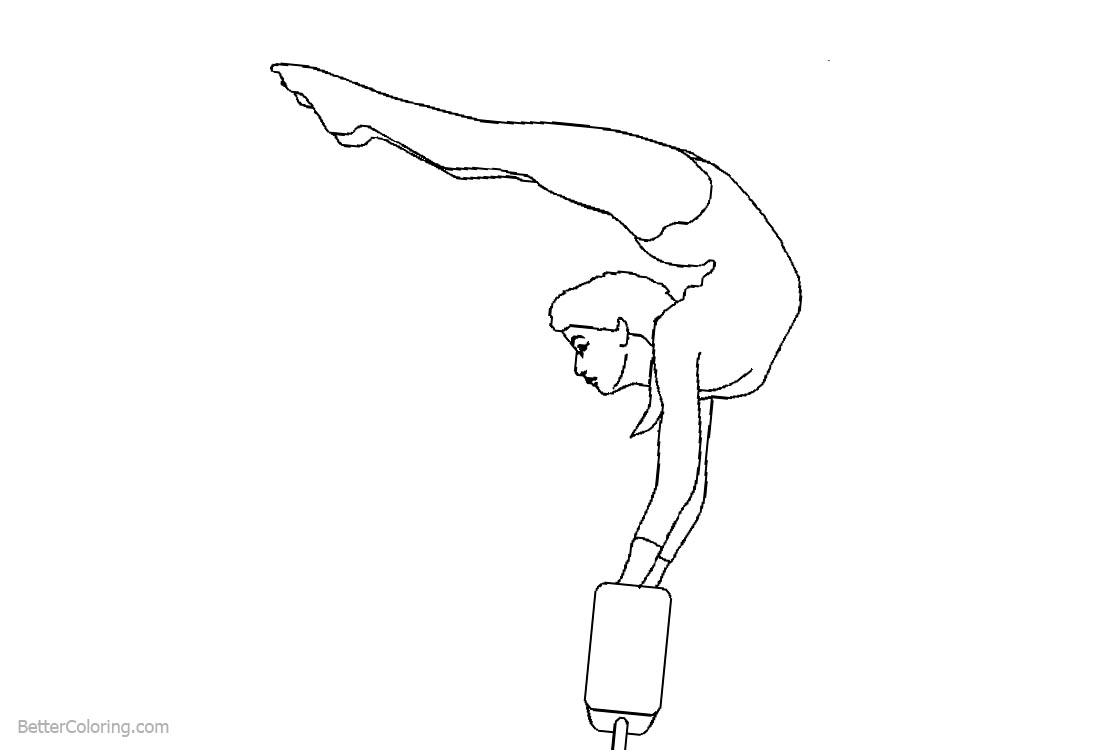 Gymnastics Coloring Pages Balance Beam Lineart printable for free