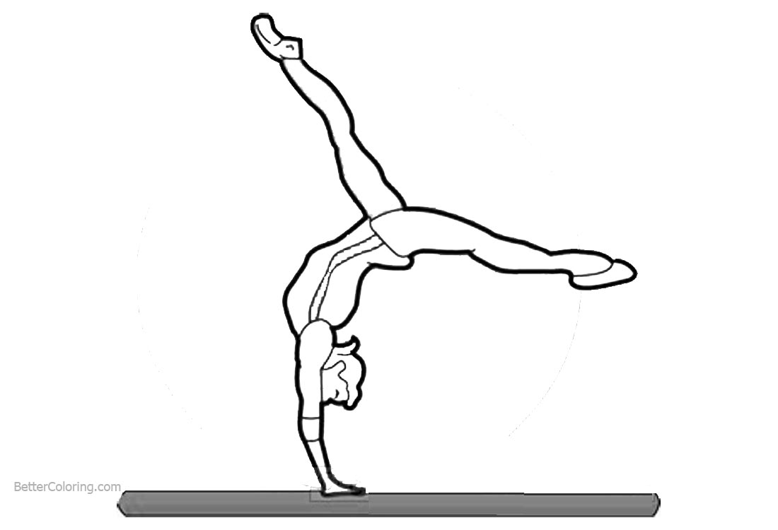 Gymnastics Coloring Pages Balance Beam Free Printable Coloring Pages