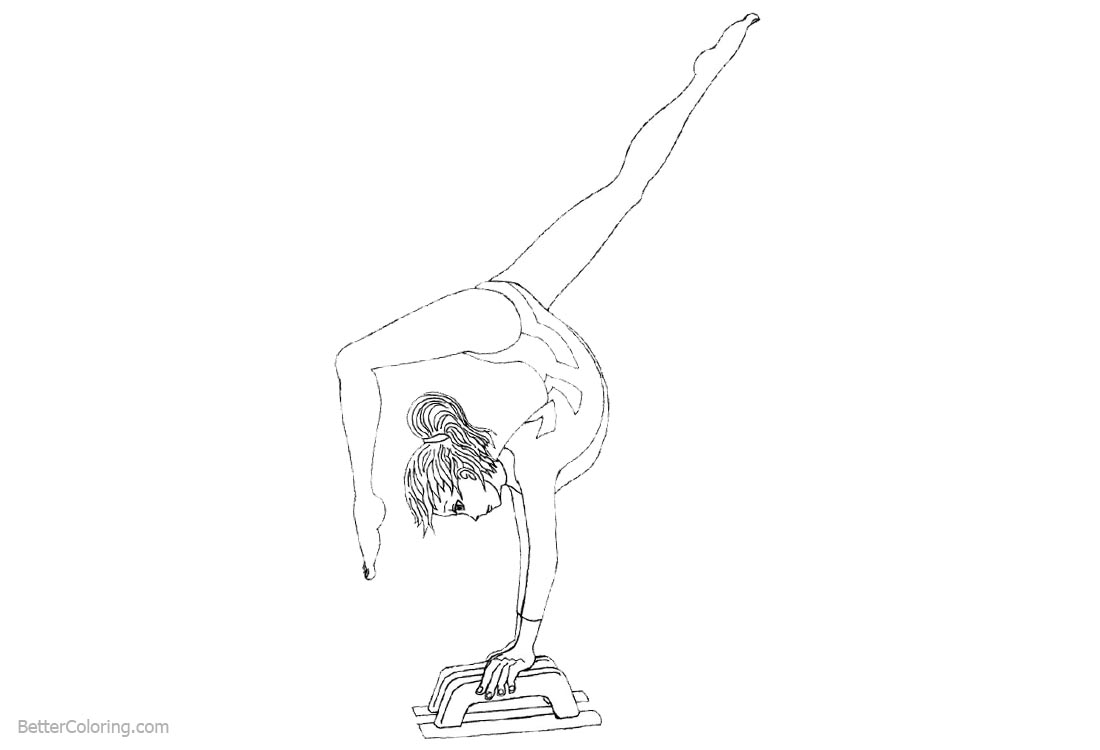 Gymnastics Coloring Pages Black and White printable for free