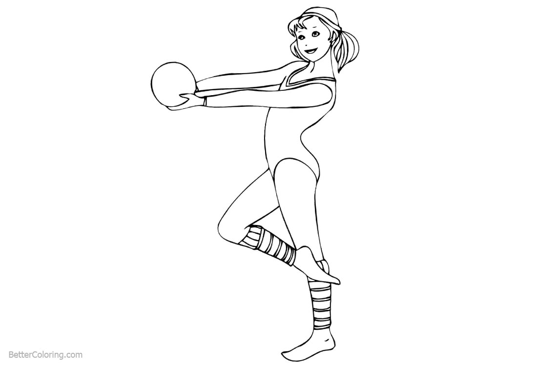 Gymnastics Coloring Pages Cute Girl With Ball Free