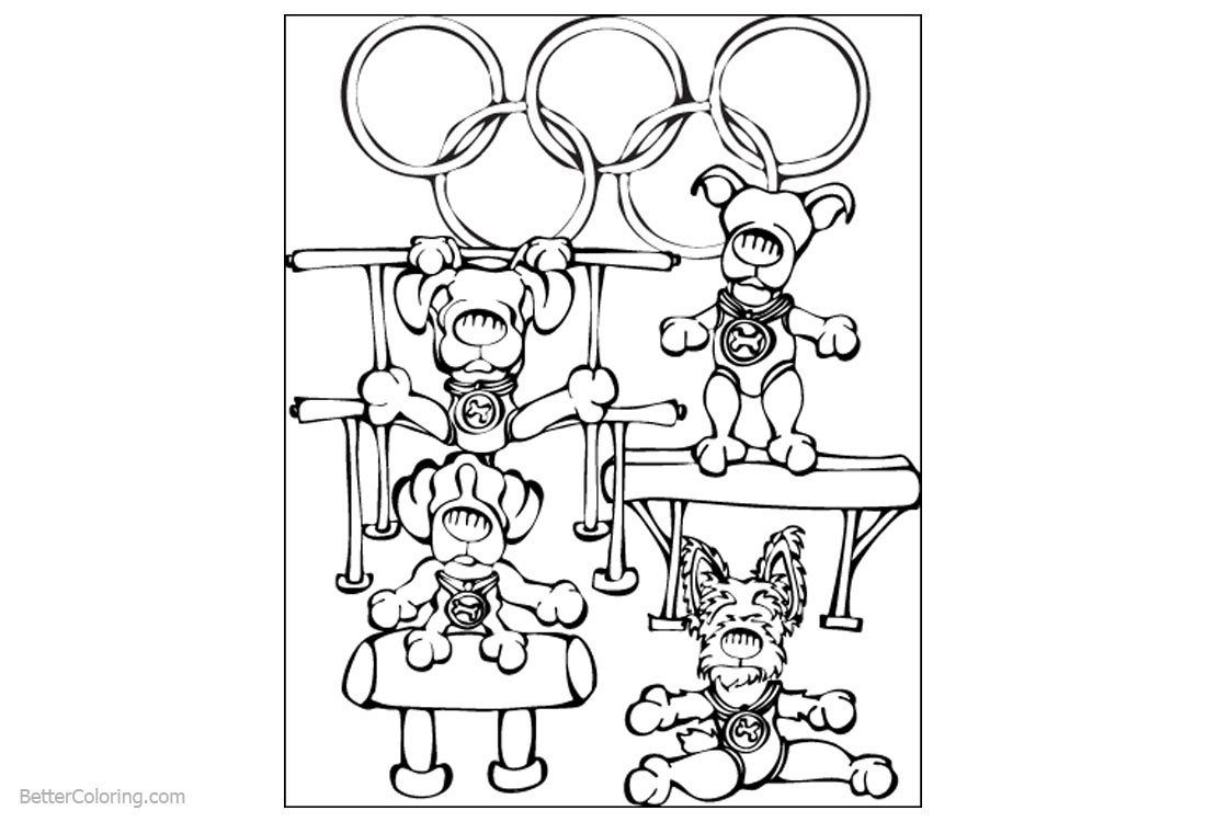 Gymnastics Coloring Pages Doggy Free Printable Coloring Pages