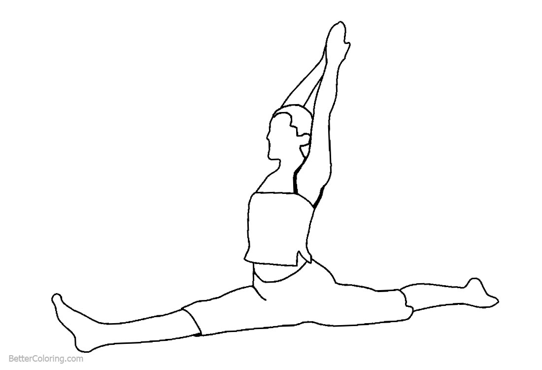 Gymnastics Coloring Pages Girl Exercises Free Printable