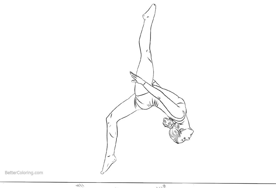 gymnastics coloring pages girl on the balance beam free printable