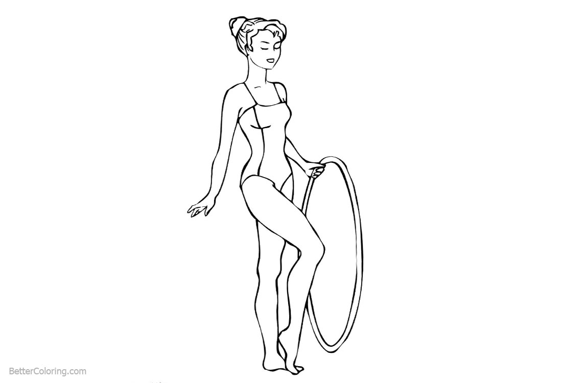 Gymnastics Coloring Pages Hoop printable for free