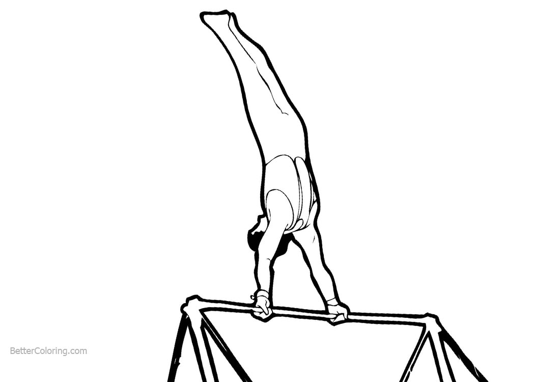 Gymnastics Coloring Pages Horizontal bar printable for free