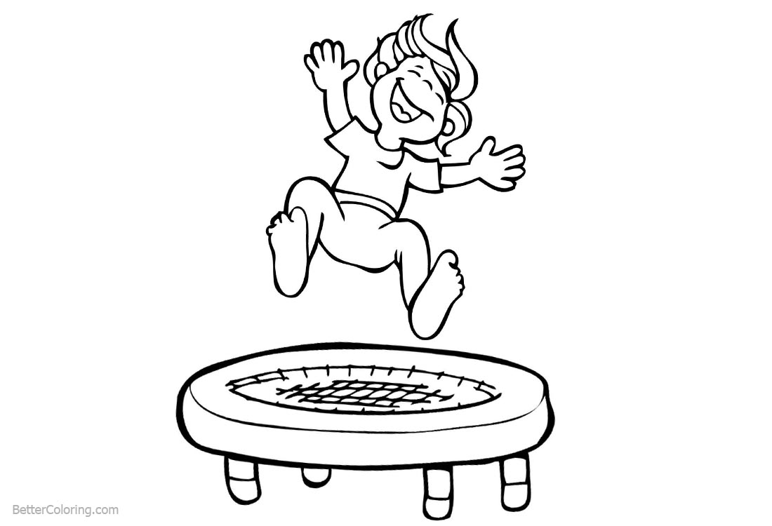 Gymnastics Coloring Pages Kids Playing Trampoline printable for free