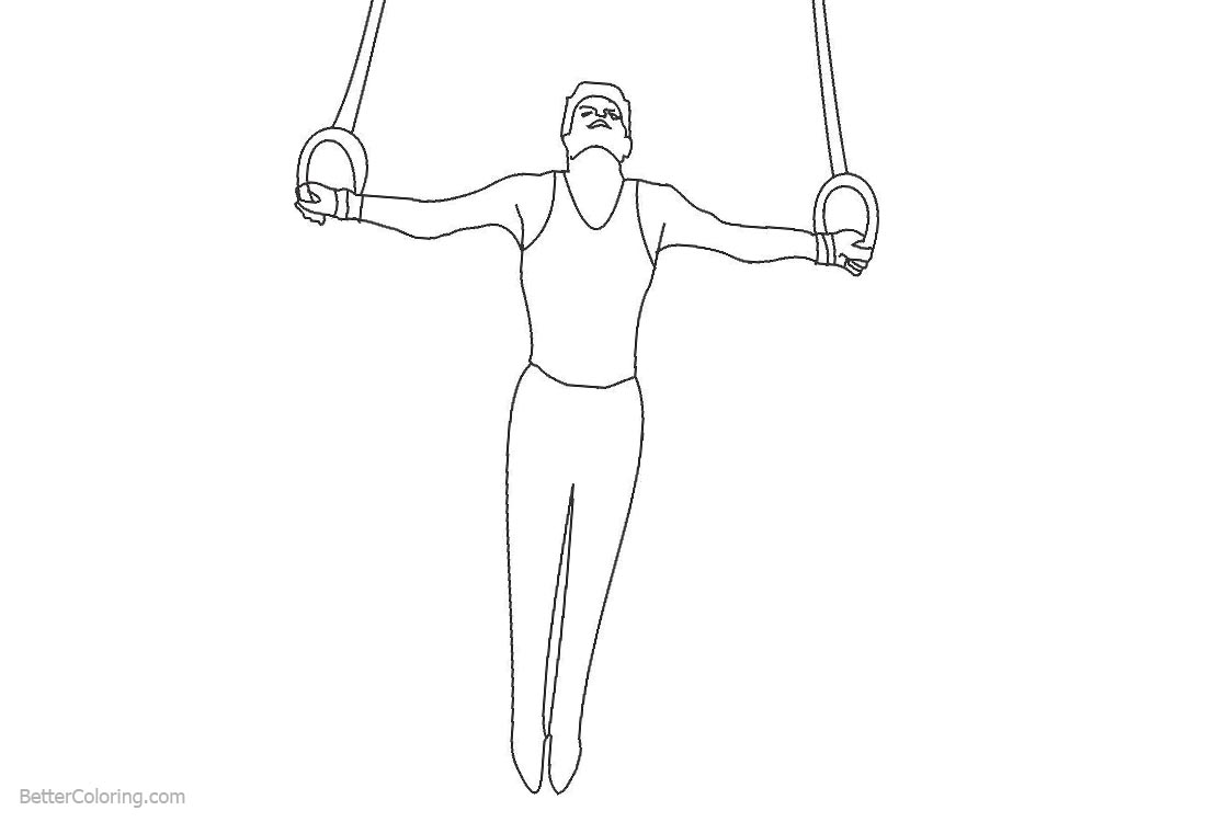 Gymnastics Coloring Pages Male Gymnast Play Rings printable for free