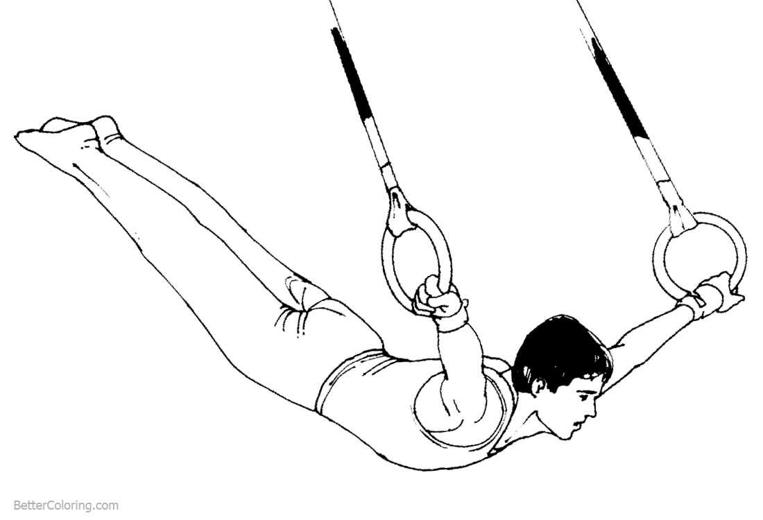 Gymnastics Coloring Pages Man Plays the Rings printable for free