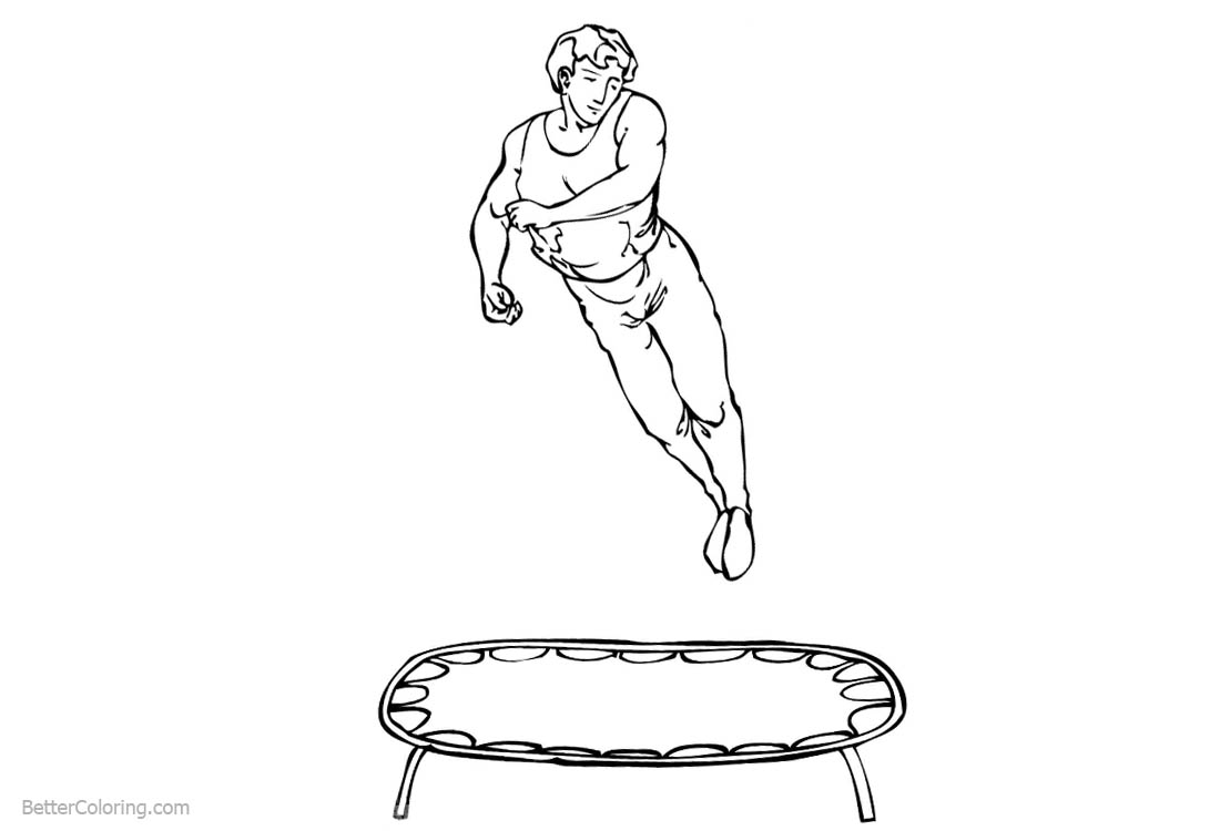 Gymnastics Coloring Pages Man On The Trampoline Free Printable