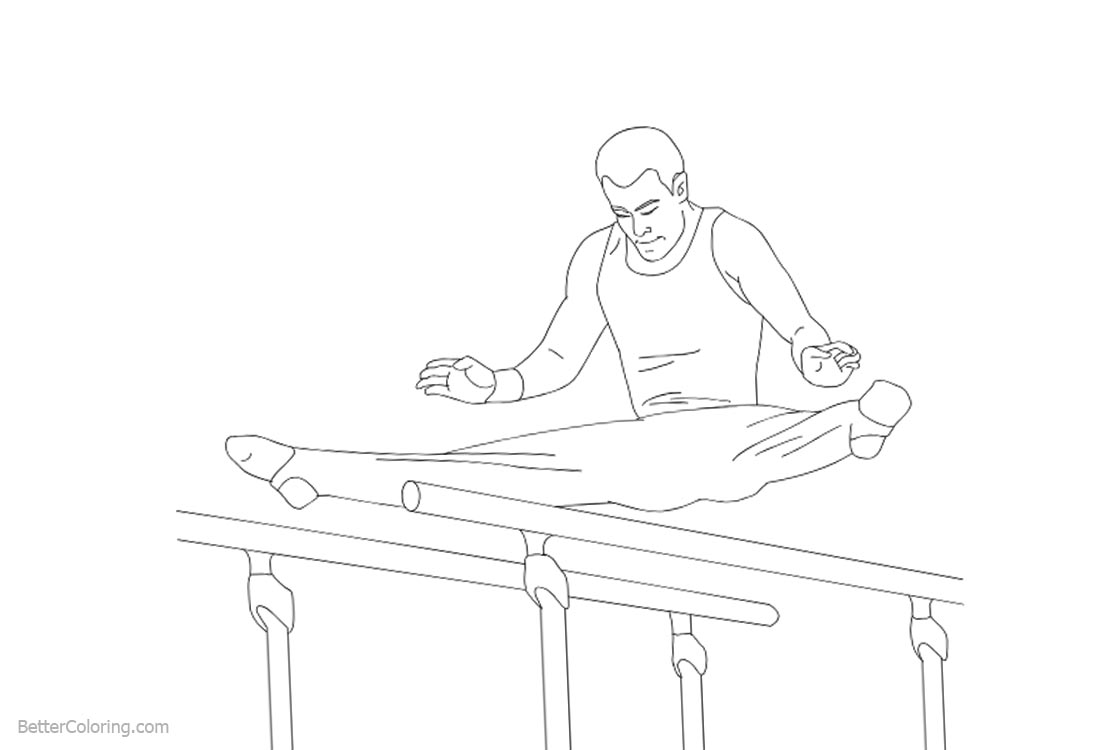 Gymnastics Coloring Pages Parallel Bars printable for free