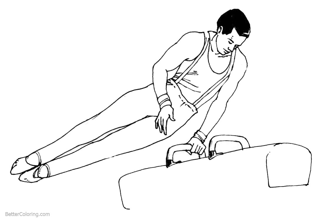 Gymnastics Coloring Pages Pommel Horse Line Drawing Free Printable