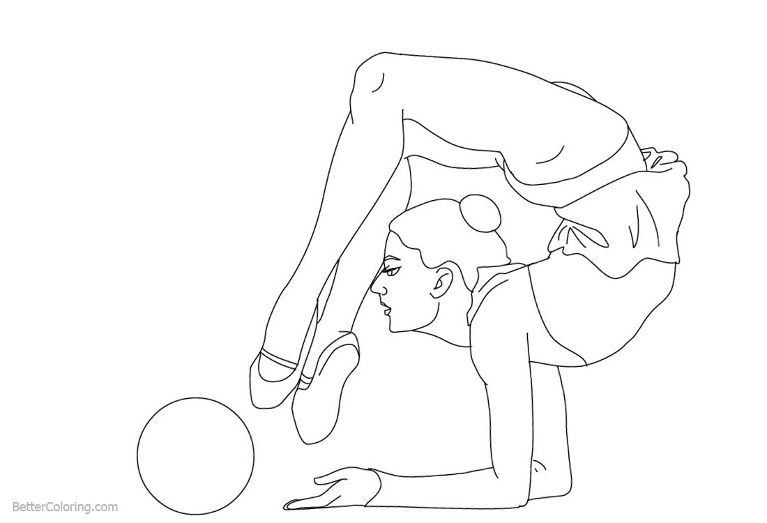 Gymnastics Coloring Pages Rhythmic Ball printable for free