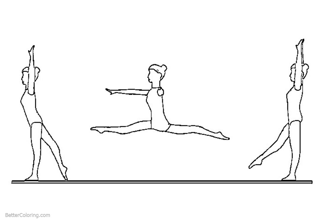 Gymnastics Coloring Pages Three Girls printable for free