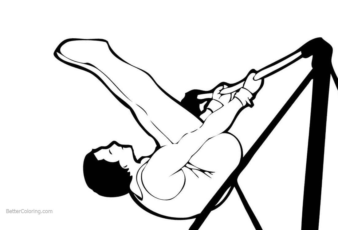 Gymnastics Horizontal bar Coloring Pages printable for free