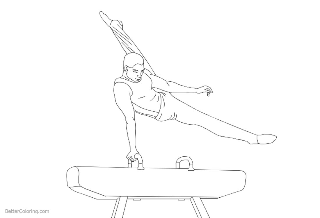 Gymnastics Pommel Horse Coloring Pages printable for free