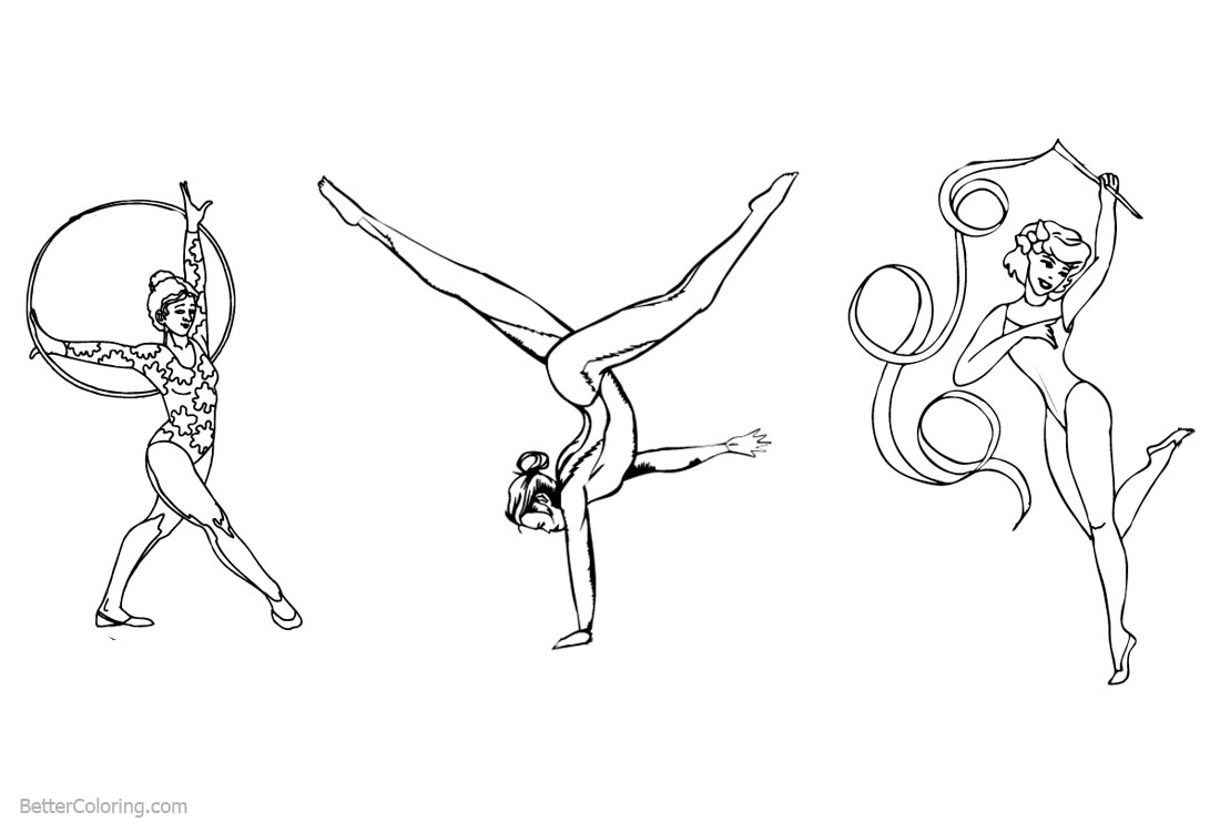 Gymnastics Rhythmic Coloring Pages printable for free