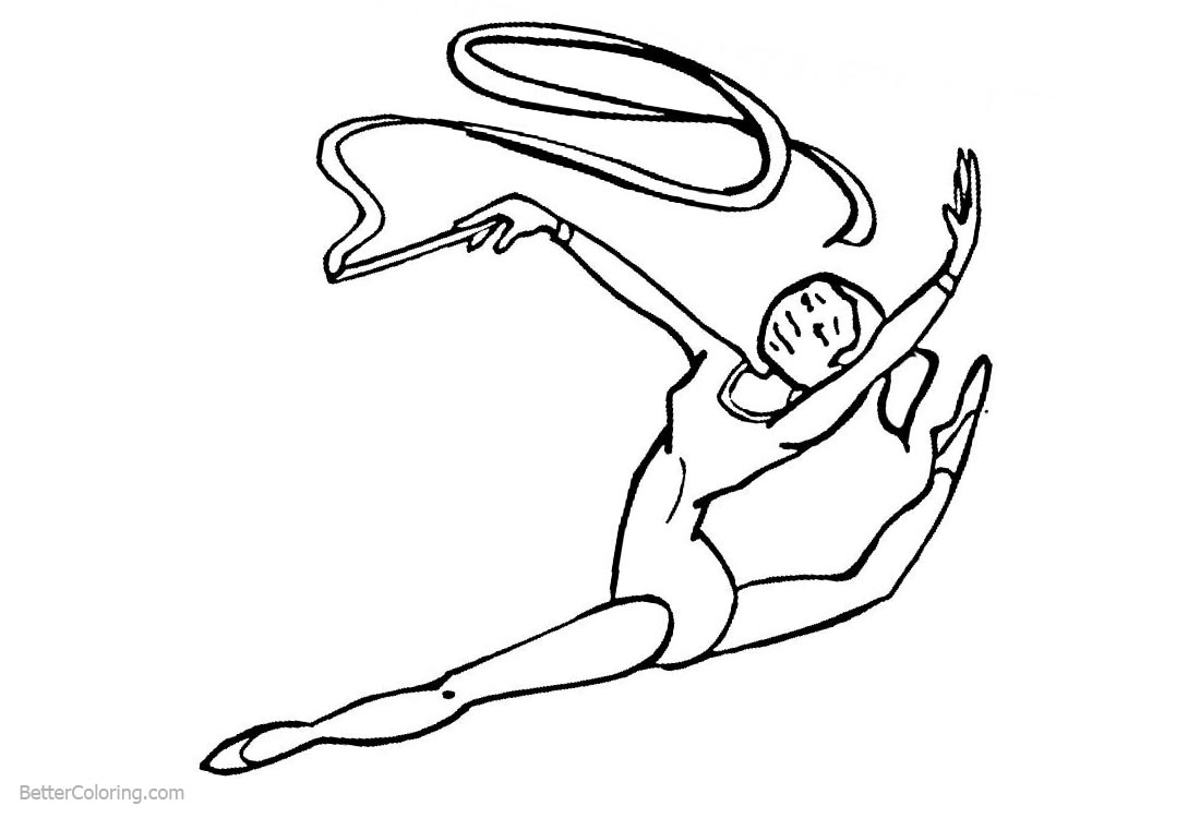 Gymnastics Ribbon Coloring Pages printable for free