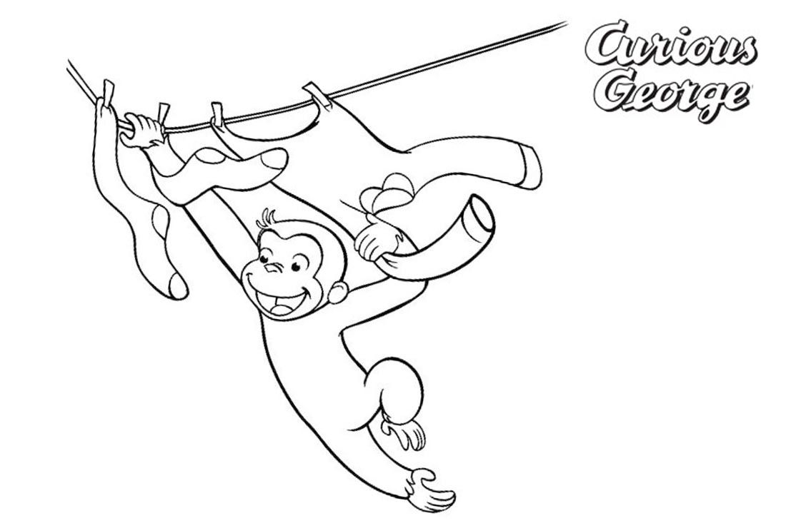 Happy Curious George Coloring Pages - Free Printable Coloring Pages