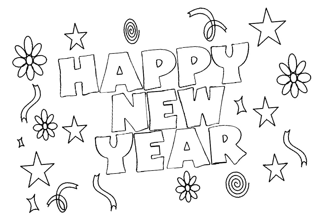 Happy New Year Coloring Pages 2019