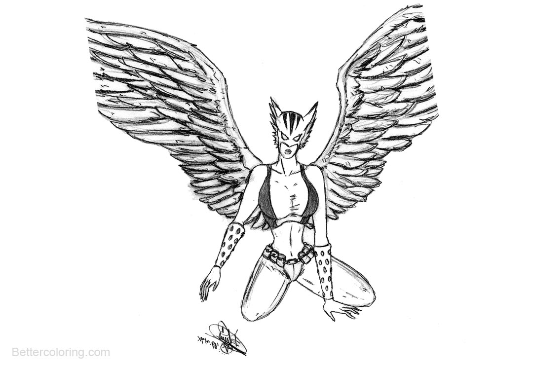 Hawk Girl Coloring Pages by dfreyes