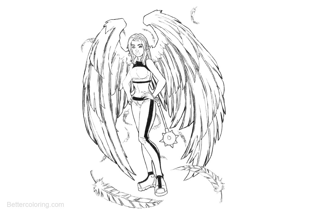 Free Hawkgirl Coloring Pages DC Comics Characters by fhiacha printable