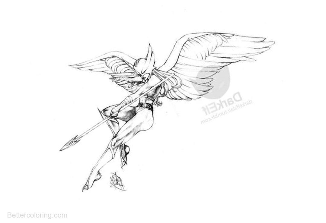 Hawkgirl Coloring Pages Hand Drawing By Jesi15 Free Printable