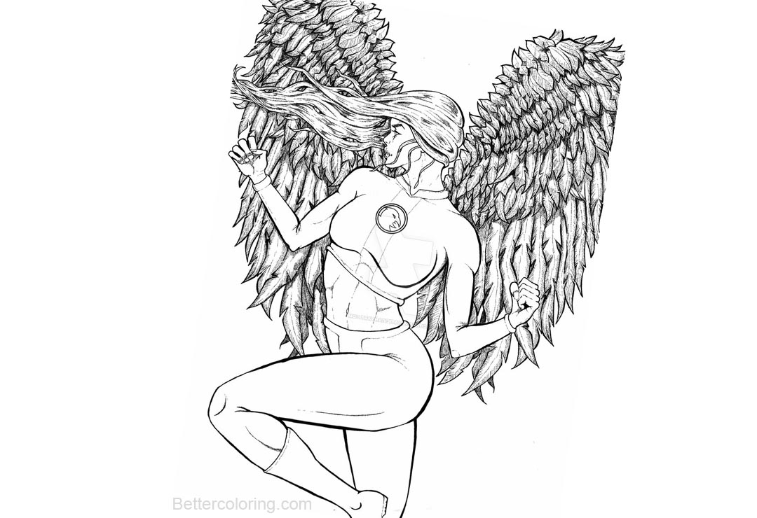 Free Hawkgirl Coloring Pages Inking by richards9999 printable