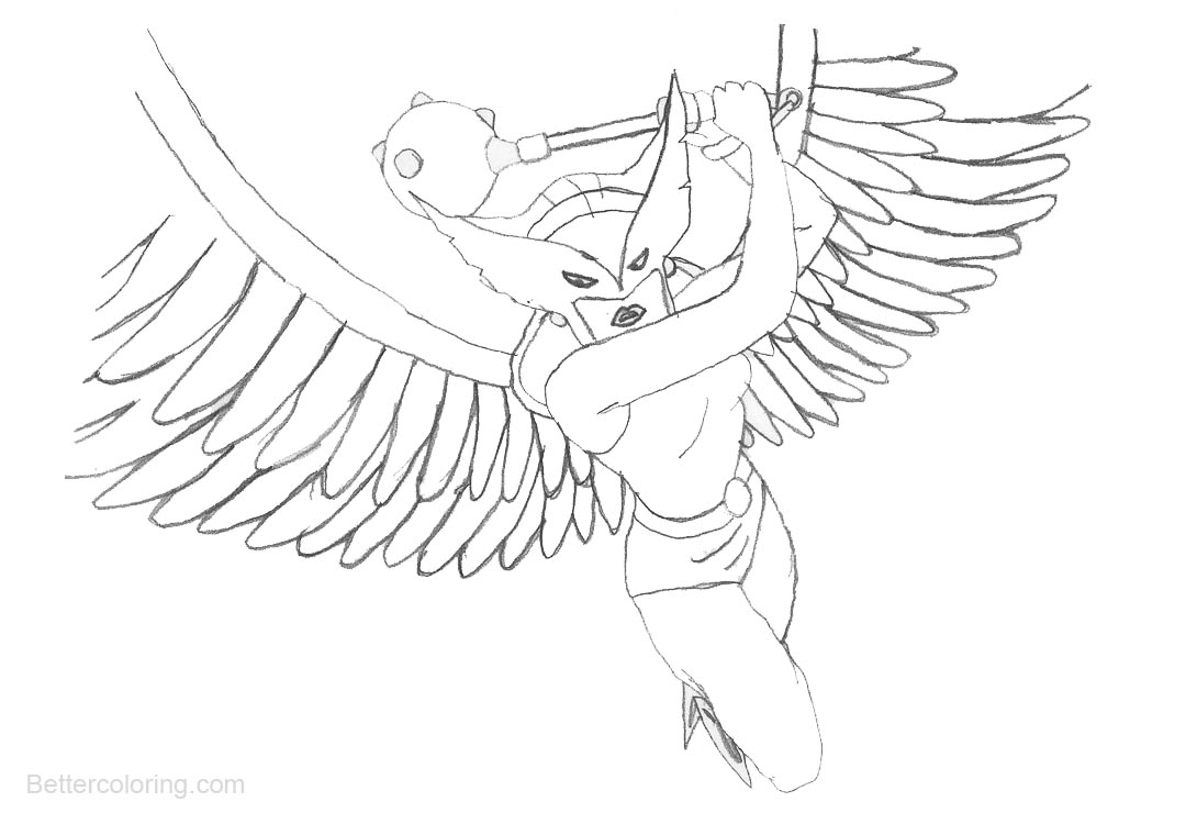 Hawkgirl Coloring Pages Justice League by giannisxd55 - Free ...