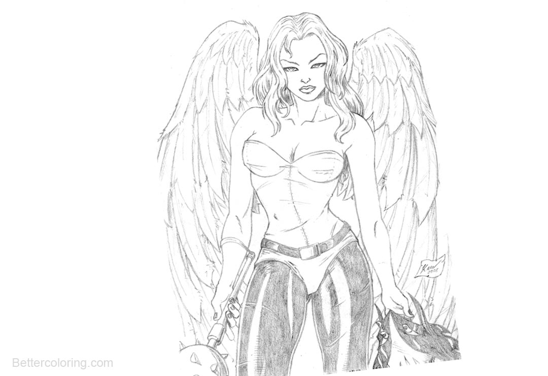 Free Hawkgirl Coloring Pages Super Girl by kewber printable