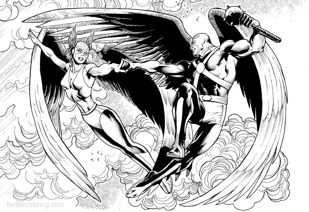 Free Hawkman and Hawkgirl Coloring Pages printable