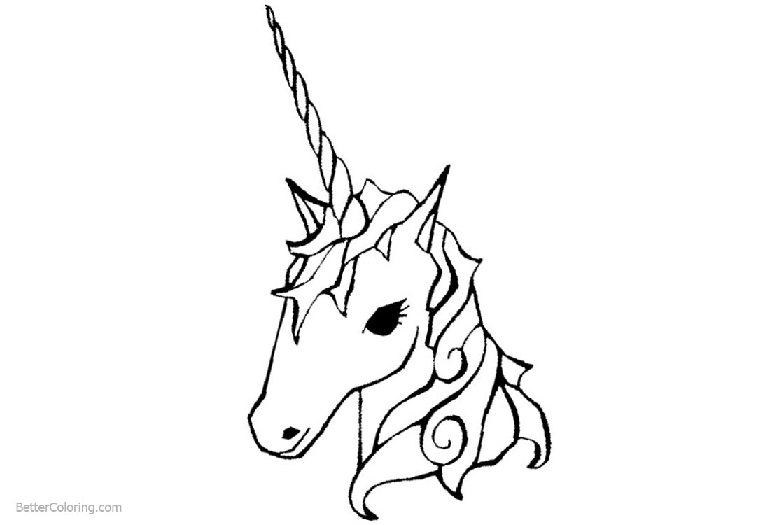 Head of Unicorn Coloring Pages