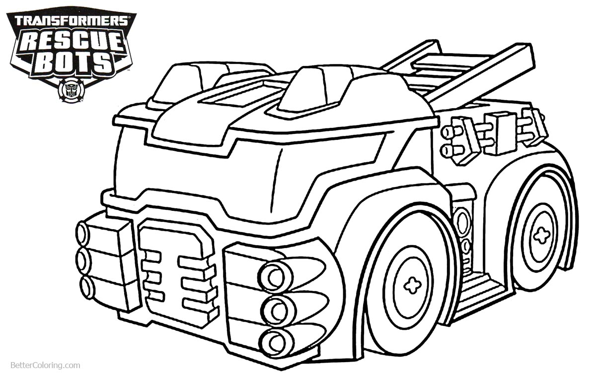 Heatwave from Transformers Rescue Bots Coloring Pages The Fire Bot printable for free