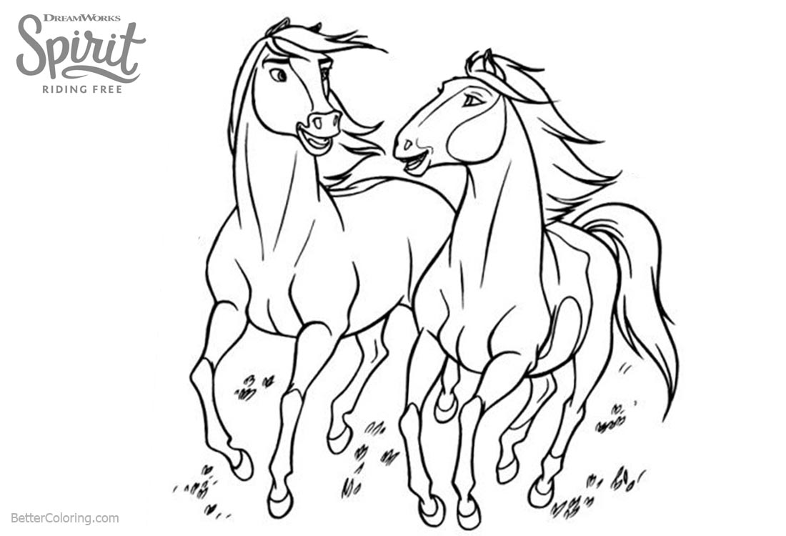 Horses from Spirit Riding Free Coloring Pages printable for free