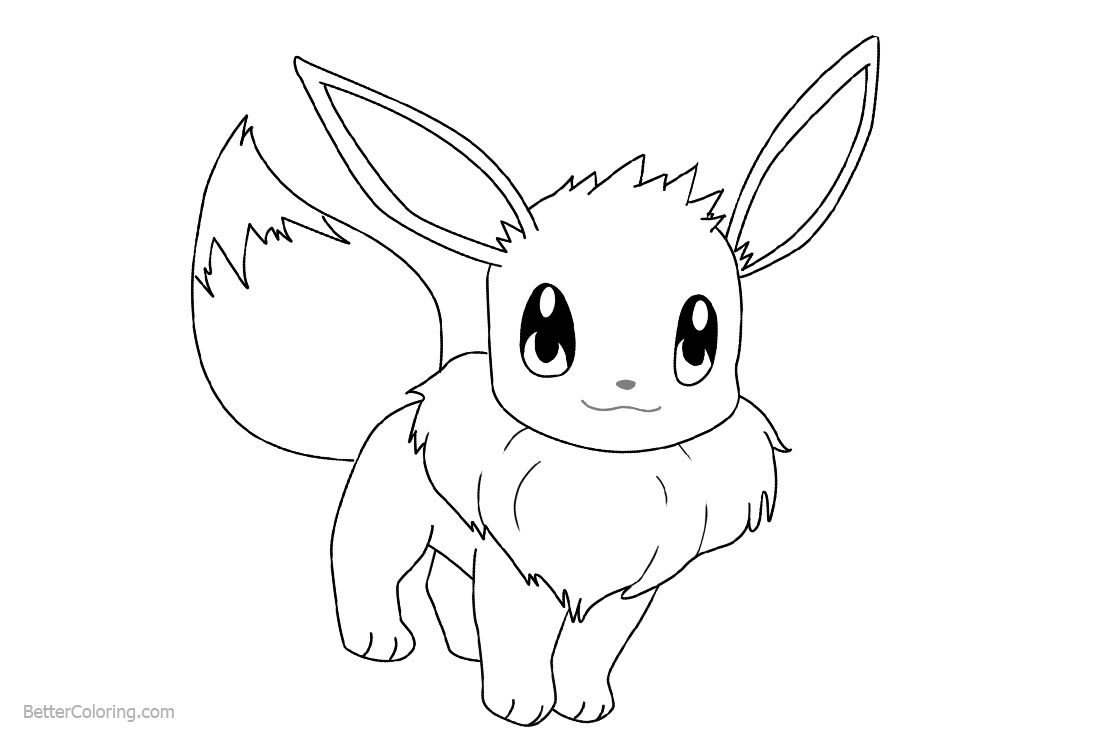 How to draw eevee coloring pages free printable coloring for Eevee coloring pages to print