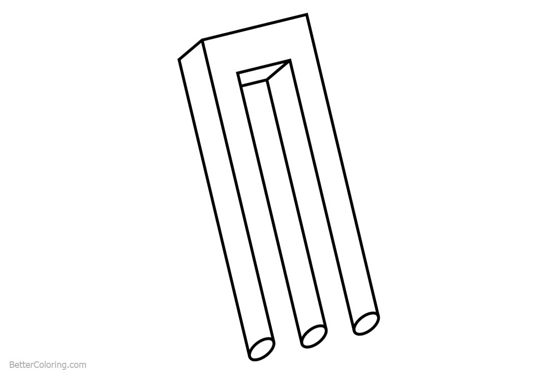 Free Impossible Object of Optical Illusion Coloring Pages printable