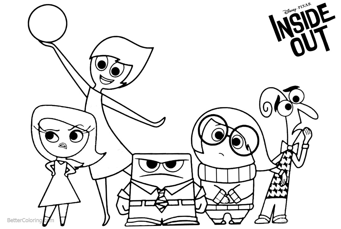 Inside Out Characters Coloring Pages printable for free