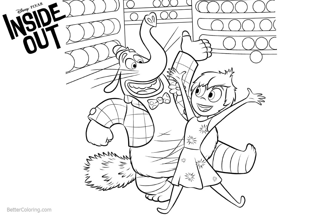 Inside Out Coloring Pages BingBong and Joy Are So Happy printable for free