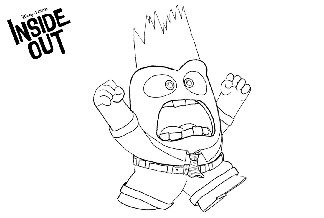 Inside Out Coloring Pages Character Anger Lineart printable for free