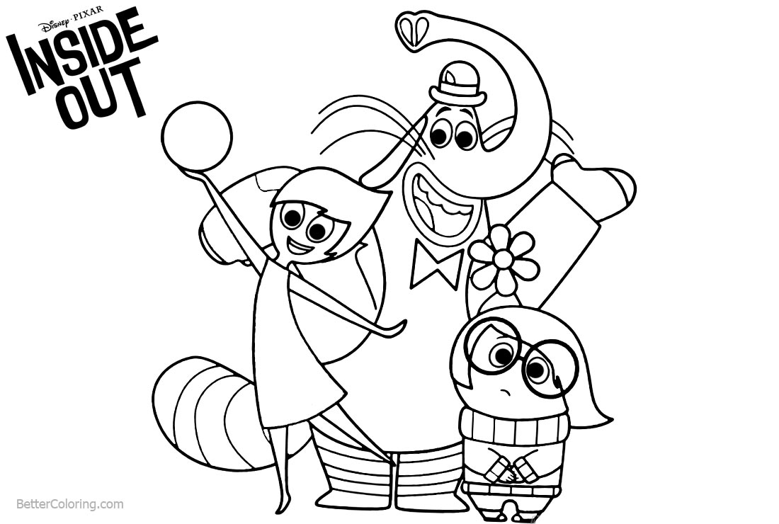 Inside Out Coloring Pages Joy Disgust and Bingbong printable for free