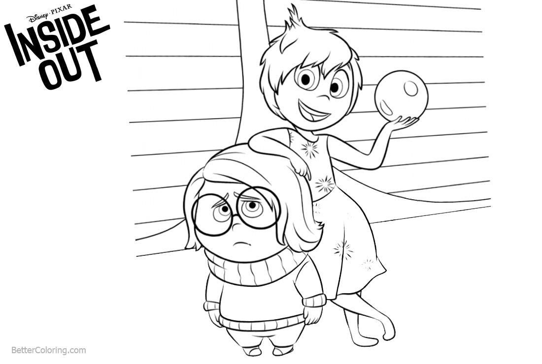 Inside Out Coloring Pages Joy and Disgust printable for free