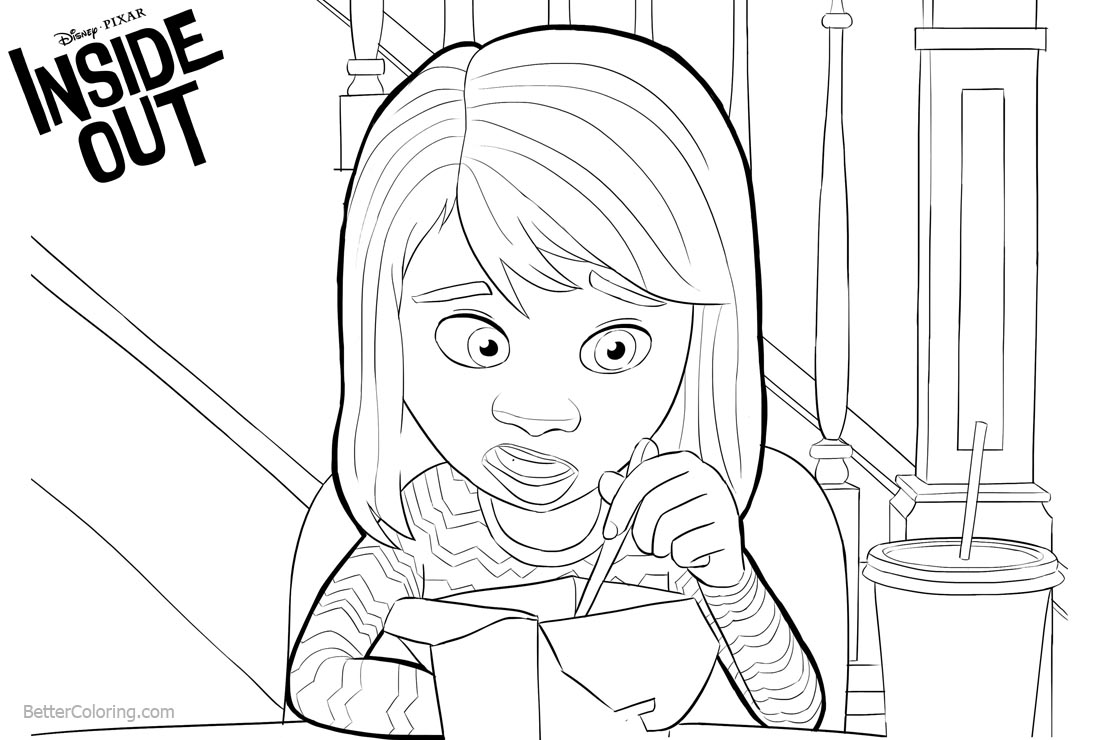 Inside Out Coloring Pages Riley printable for free
